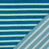 Nicky Velours - Strepen - Lichtblauw/Petrol_