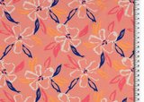Jersey - Painted Flowers - Roze_