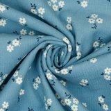 Ribfluweel - Glitter Small Flowers - Lichtblauw_