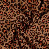 Jacquard Jersey - Luipaard - Mokka/Brique_