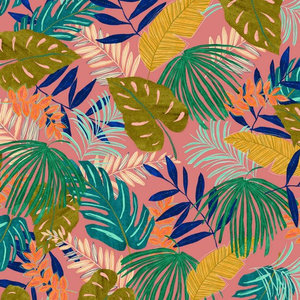 Canvas Tropical Leaves Roze