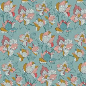Katoen Satijn Spandex Flowers Lichtblauw