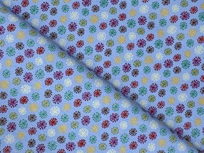 Viscose Jersey Colorfull Dandelions blauw