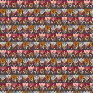 Poplin Happy Tulips Donkergrijs