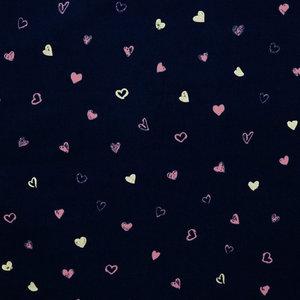 Ribfluweel - Glitter Hearts - Navy