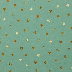 Ribfluweel - Glitter Hearts - Oudgroen