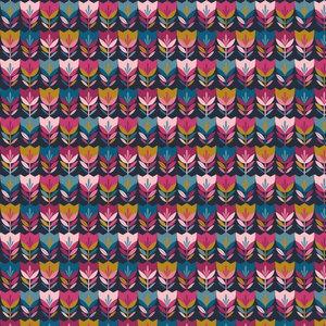 Poplin Happy Tulips Navy