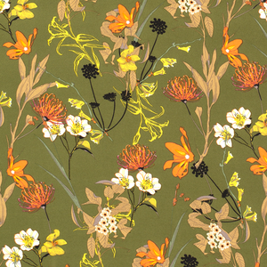 Chiffon - Bloemen - Groen