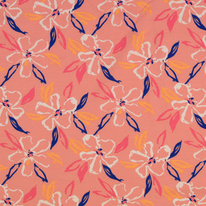 Jersey - Painted Flowers - Roze