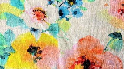 Viscose Linnen - Flower Bouquet - Ecru