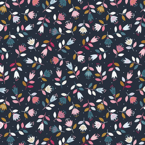 French Terry - Flowers - Navy