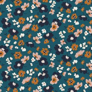 Tencel Modal Jersey - Flowers - Petrol
