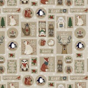Poplin - Happy Christmas - Beige